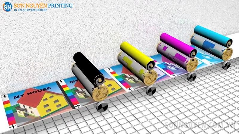 In 4 màu sẽ có 4 khuôn in khác nhau, in lần lượt các màu