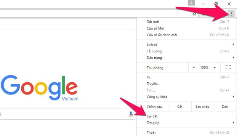 Mở ứng dụng Google Chrome, nhấn vào menu (dấu 3 chấm) góc phải như hình bên dưới và chọn Cài đặt