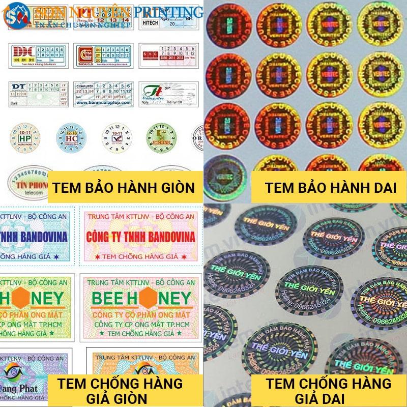 Các loại tem bảo hành tại xưởng in Sơn Nguyên