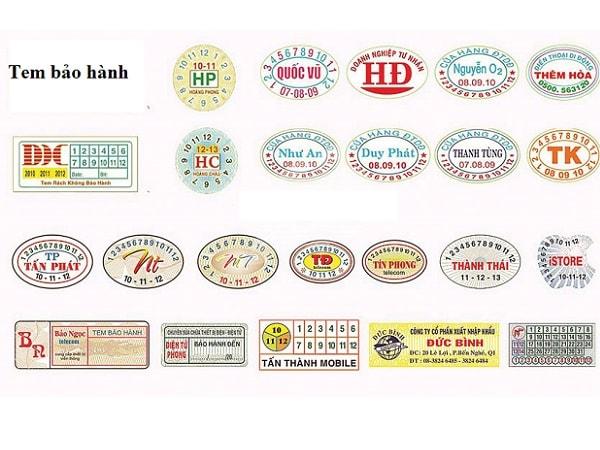 Kích thước, các loại giấy in tem bảo hành thông dụng