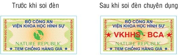 Tem chống hàng giả được làm bằng decal vỡ trên công nghệ in ấn hiện đại, giúp dễ dàng phát hiện tem giả