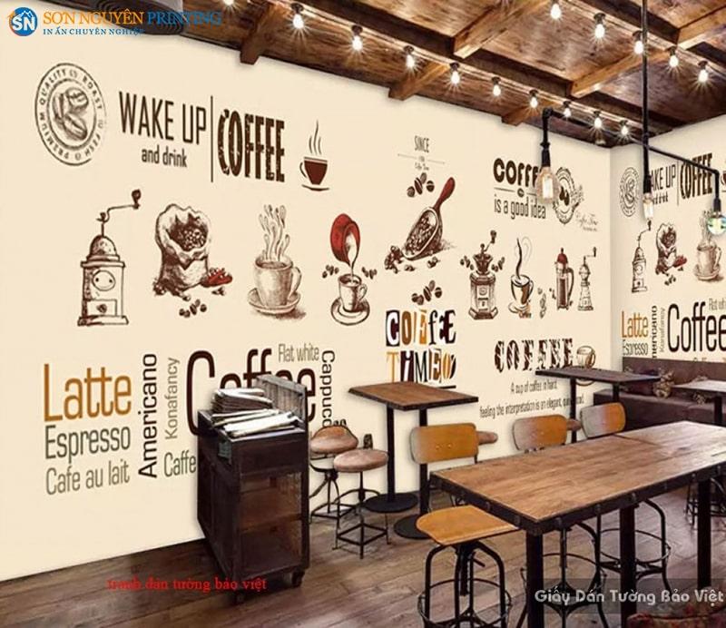 Decal dán tường sử dụng trong quán cà phê