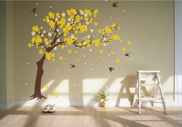 Decal dán tường màu vàng hợp người mệnh Thổ