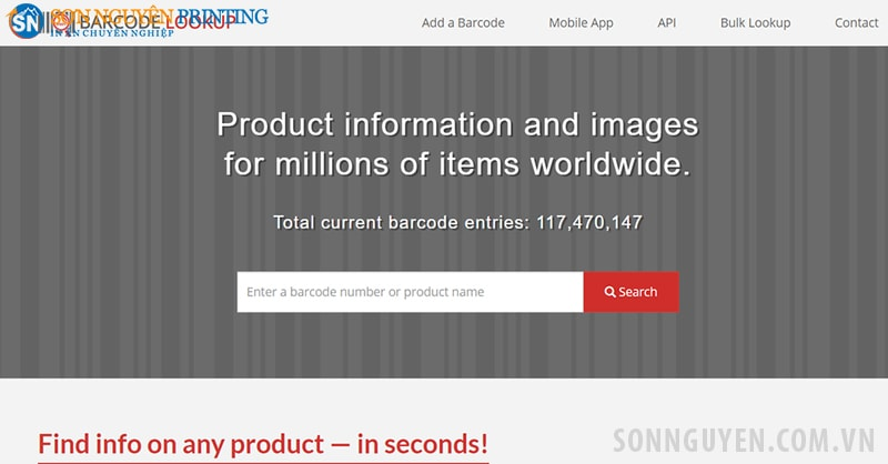 Website check mã vạch Barcode Lookup