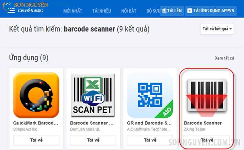 Cài đặt phần phần Barcode Scanner