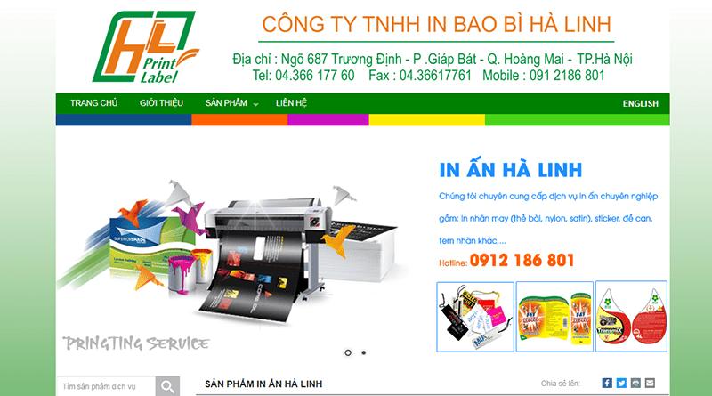 Trang web của in Hà Linh