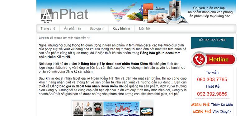 Website của in An Phát