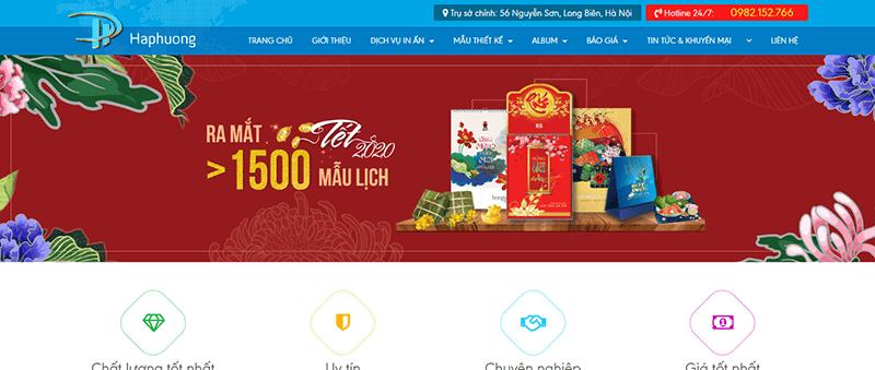 Trang web của in Hà Phương