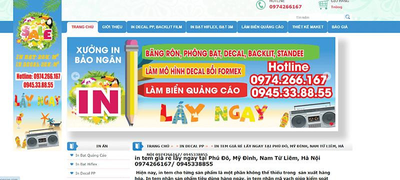 Website của in Bảo Ngân