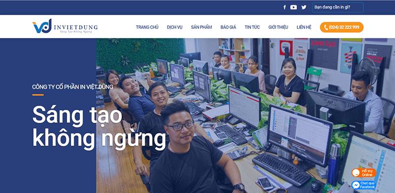 Trang web của in Việt Dũng