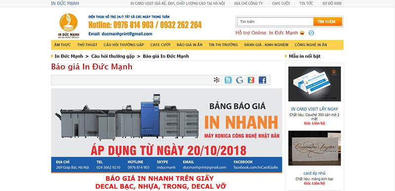 Trang web của in Đức Mạnh