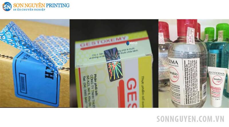 Các loại tem niêm phong: trên thùng sản phẩm, hộp sản phẩm, tem niêm phong dán chai