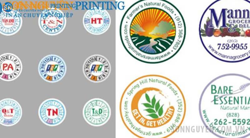 Tem bảo hành và tem nhãn sản phẩm hình tròn